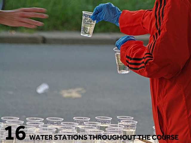 16 water stations throughout the course