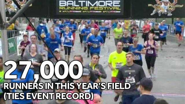 27,000 total runners in this year's field (ties event record)