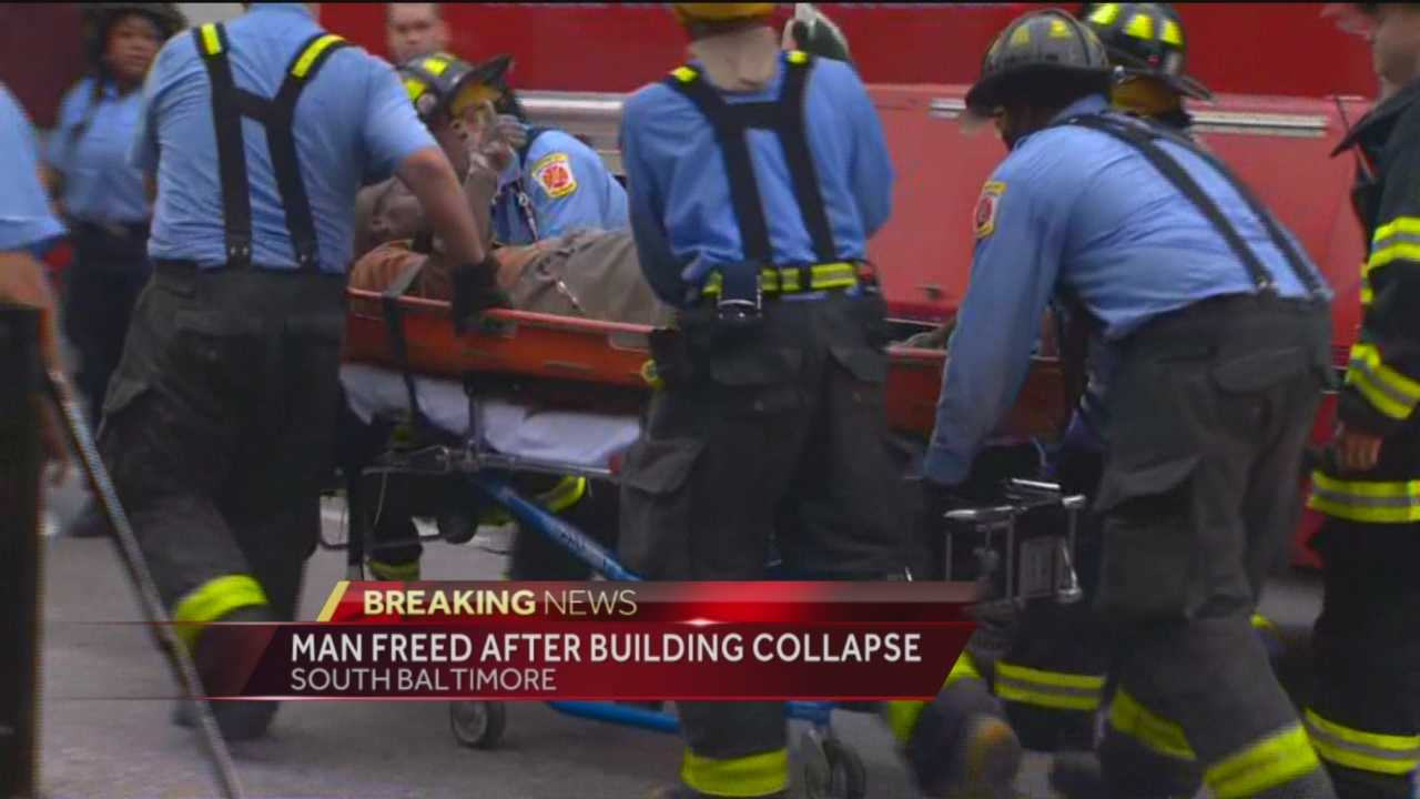 Baltimore City fire and rescue crews were called to a building collapse on South Paca Street across from Oriole Park at Camden Yards.