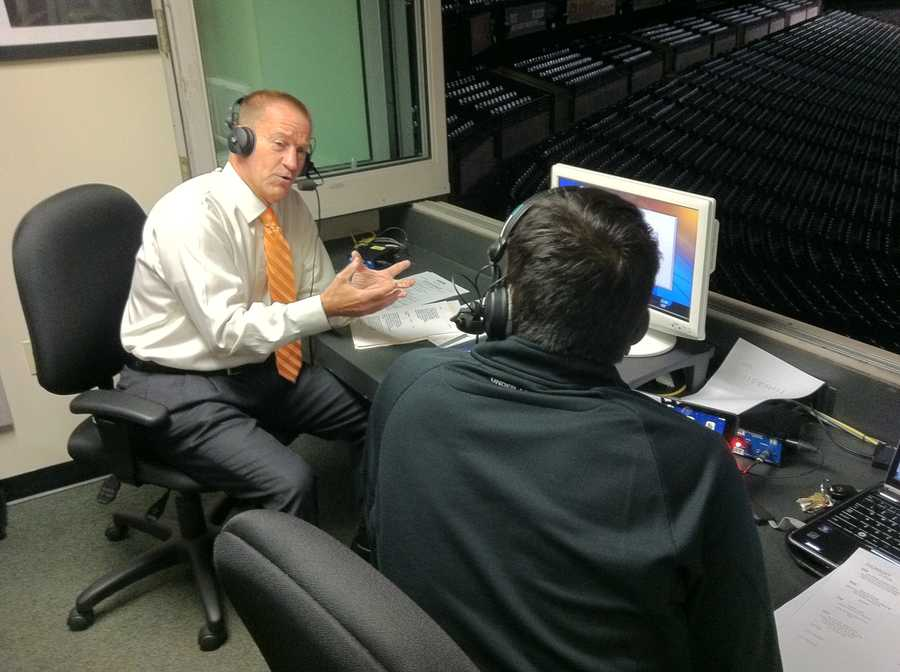 WBAL-AM hosts Bryan Nehman and Keith Mills broadcast live early Thursday morning from Camden Yards.