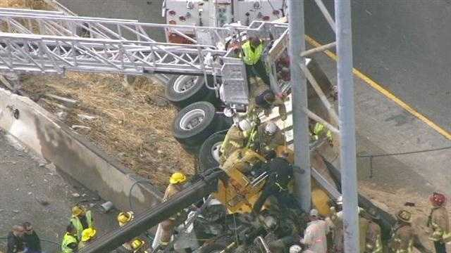 A dump truck crash closes U.S. Route 29 between U.S. Route 40 and Maryland Route 100.