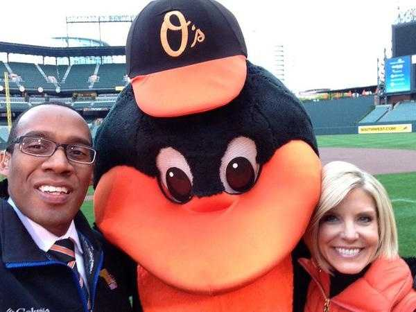 WBAL-TV 11 News Today's Jason Newton and Mindy Basara after Thursday morning's broadcast with the Oriole bird!