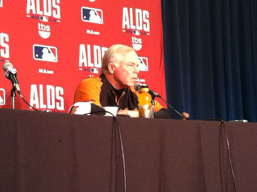 """Buck Showalter answers questions just a few hours before Game 1 against the Tigers.Buck on start of the playoffs: """"The postseason had a strange way of making strange heroes."""""""