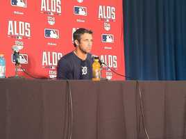 Detroit Tigers manager Brad Ausmus answers questions a few hours before the ALDS opener at Camden Yards.