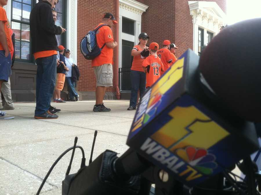 Orioles fans lined up outside OPACY hours before the first pitch.