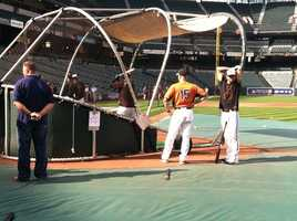 Orioles get batting practice in before Game 1 of the ALDS