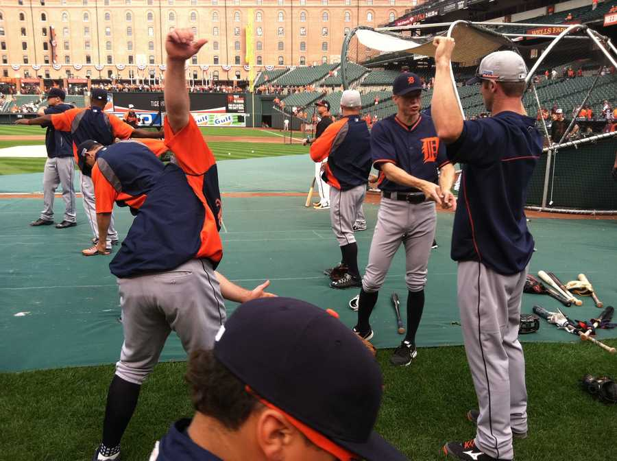 Tigers players before batting practice on Thursday.
