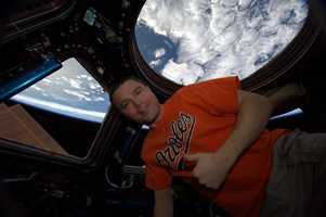 Astronaut Reid Wiseman sends his Os pride from space!