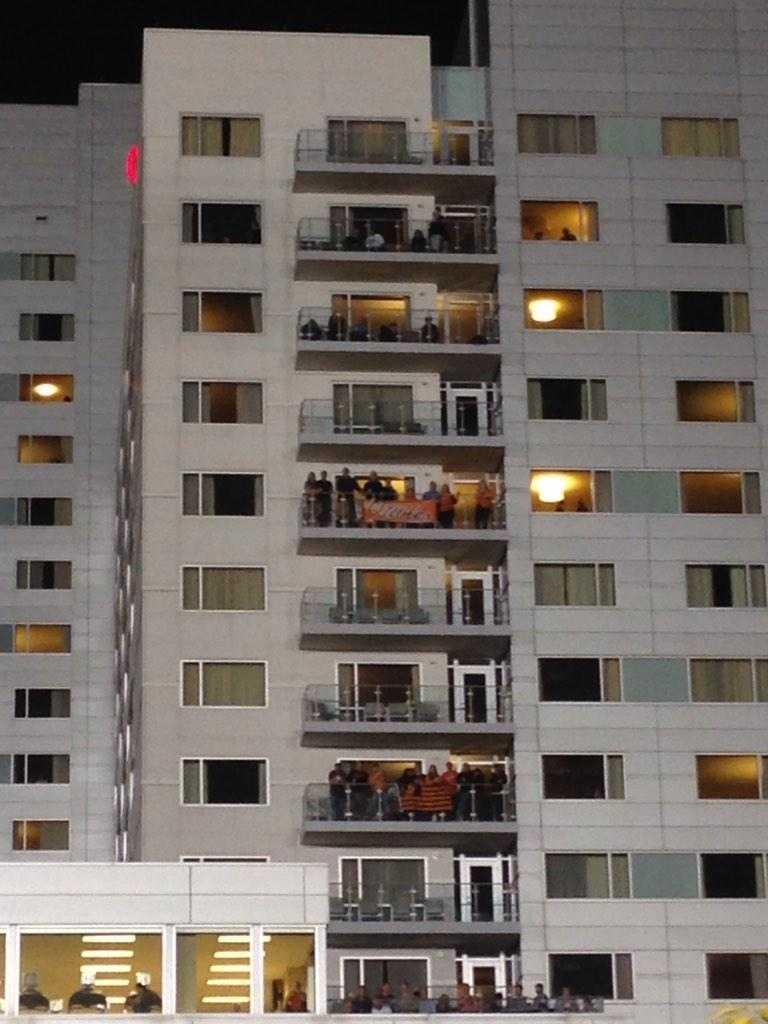Orioles fans pack the Hilton Hotel balconies