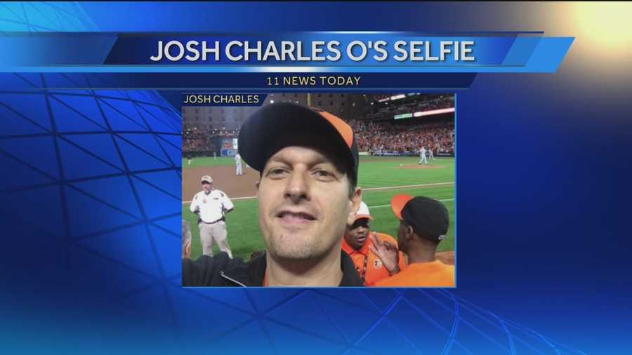 Actor and Baltimore native Josh Charles takes a selfie while at Game 1 of the ALDS as he roots for the Orioles.