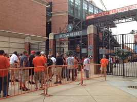 At 9:30 a.m. Friday, fans are already waiting in line to get into Camden Yards for Game 2 of the ALDS, which starts at noon.