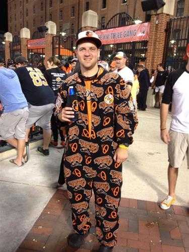 Perhaps the fan who went the extra mile was Kevin Weems, whose girlfriend made a custom Orioles onesie complete with a variety of patches.