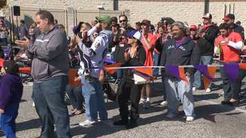 Orioles and Ravens fans showed up Sunday at an outdoor event to showcase both games, including the crucial Game 3 of the ALDS.