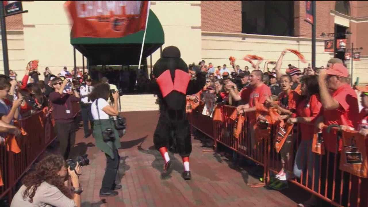 Faithful Baltimore Orioles fans came out in huge numbers Monday to welcome home the American League Division Series champs.