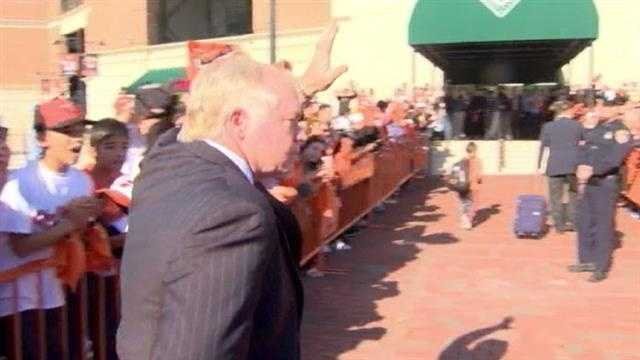 Manager Buck Showalter greets fans.