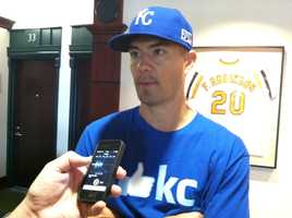 Former Oriole Jeremy Guthrie answers questions on Media Day.