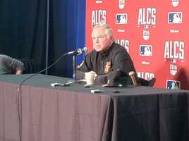 Buck Showalter takes questions on Thursday ahead of Game 1