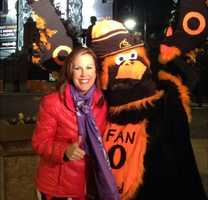 Jen hangs out with the guy who calls himself the Orioles Fan Bird early Friday morning.