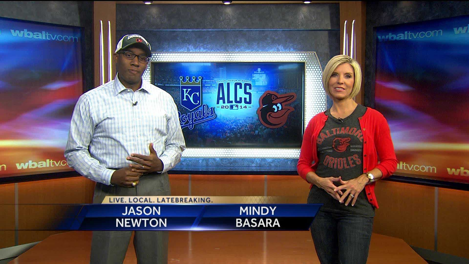 Mindy Basara and Jason Newton make a bet with KMBC news anchors Chris and Stephanie as they talk up the Orioles and how the team will take down the Royals.