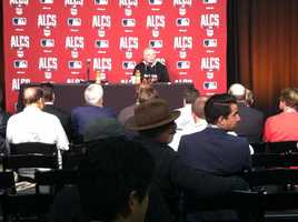 Buck Showalter addresses the media before Game 1