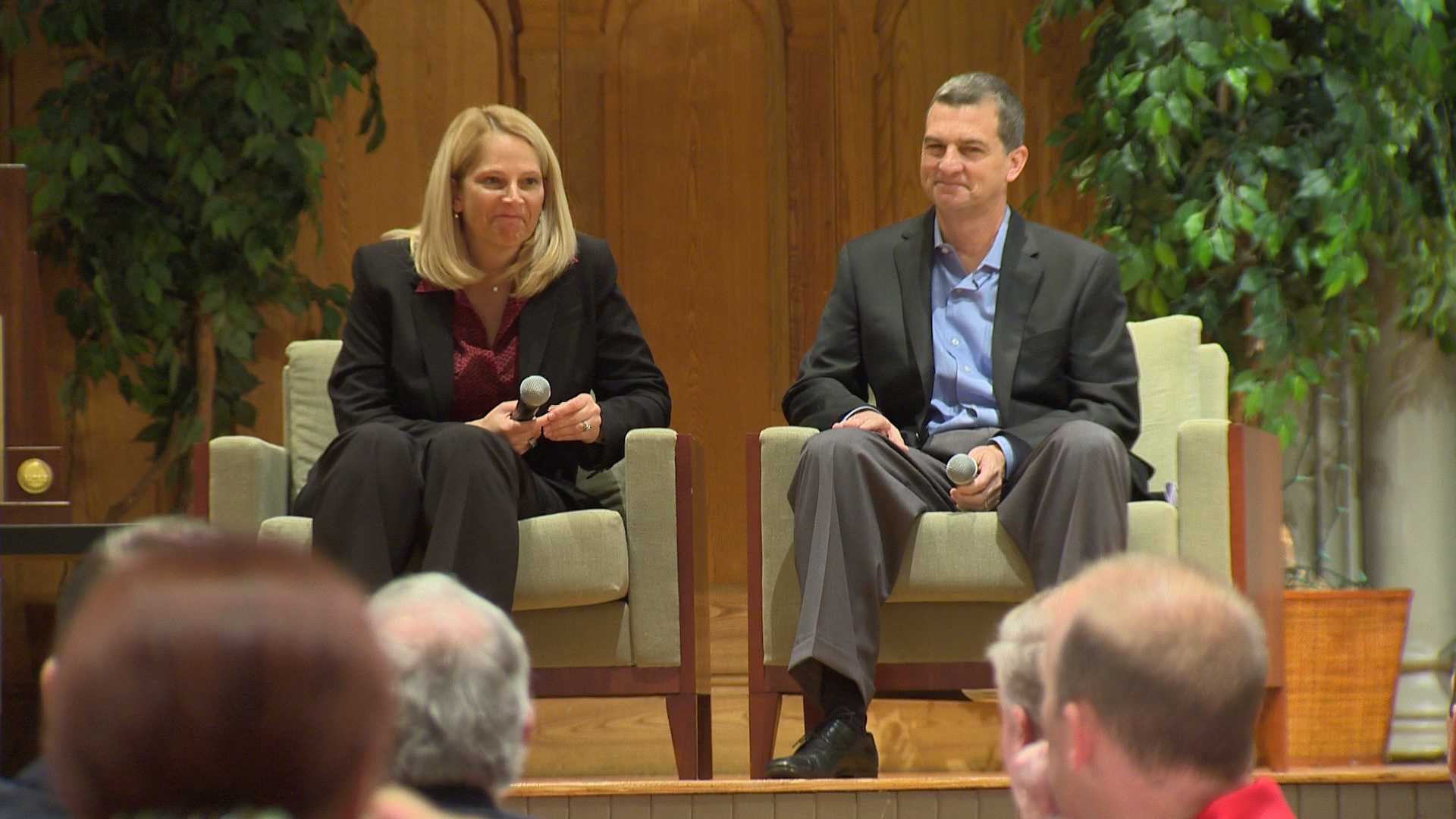 University of Maryland head basketball coaches Brenda Frese and Mark Turgeon talk to a crowd at Westminster Hall in Baltimore.