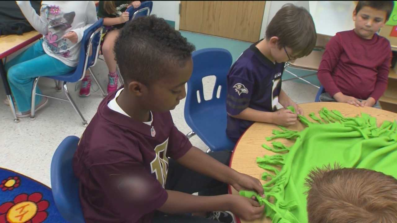 Students at Runnymede Elementary School in Carroll County make almost 200 blankets that are donated to sick children at local hospitals.