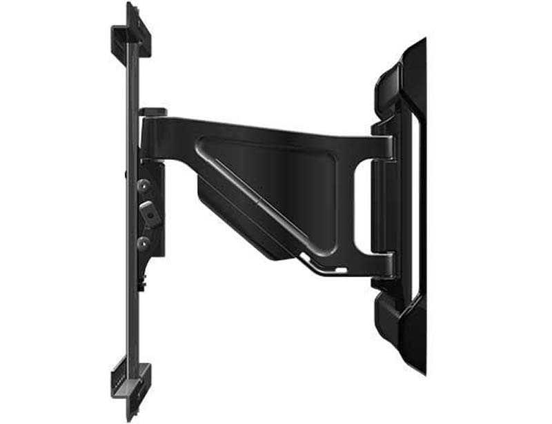 This recall involves the Sanus Simplicity model SLF5. The wall mounts are black and made of metal. They are about 30 inches long and 18 inches tall. The center bar of the mount can extend out to about 13 inches.