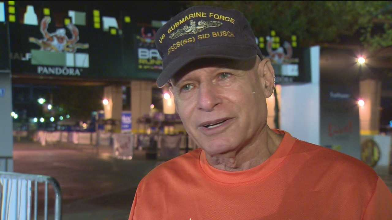 Sid Busch runs in honor of young members of the military who have lost their lives in the line of duty.