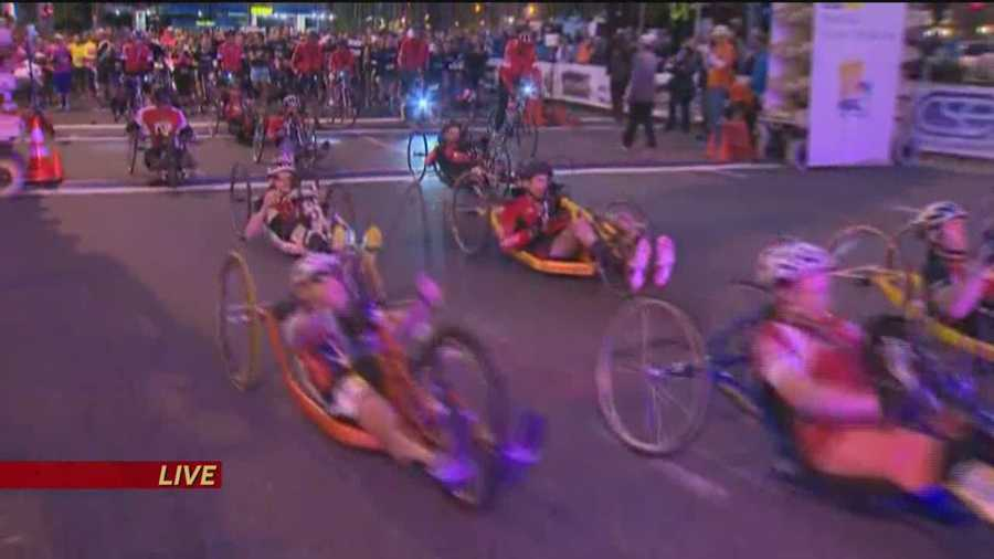 The wheelchair racers get moving.