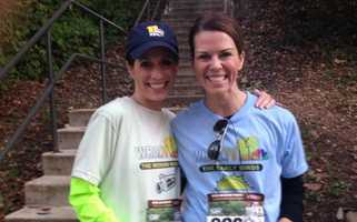 """11 News' Deborah Weiner and Megan Pringle are all smiles before competing against each other in the marathon relay. Megan is running for team """"Early Birds,"""" while Deb is running for the """"Weekend Warriors."""""""