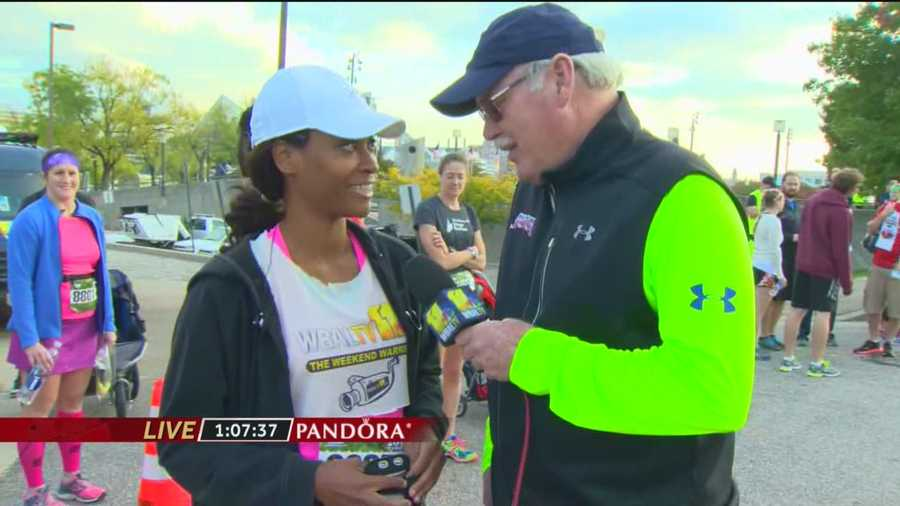 Karen Campbell talks up her 11 News relay team, the Weekend Warriors, as she prepares to take on Sarah Caldwell (for the Early Birds) in Leg 3 of the Marathon relay.  She discusses what the losers should have to do after the race is over.