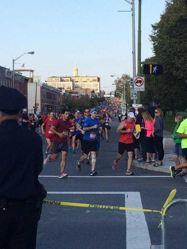 A sea of humanity on the Half Marathon course.