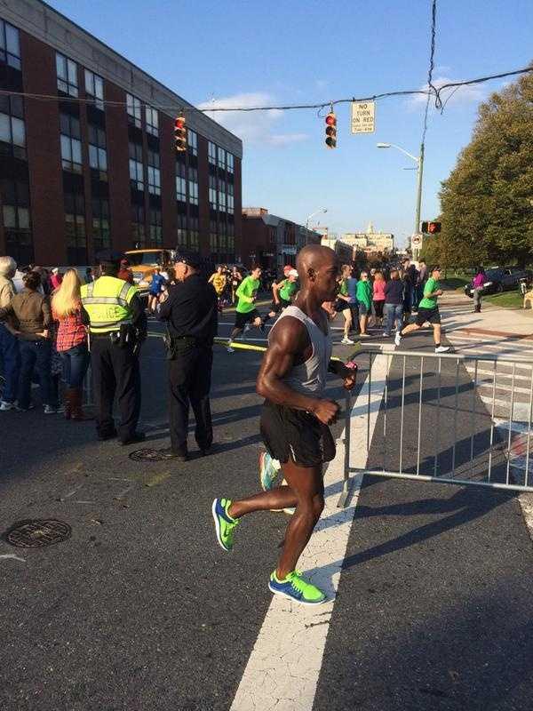 The half marathoners meet the full marathoners on the course.