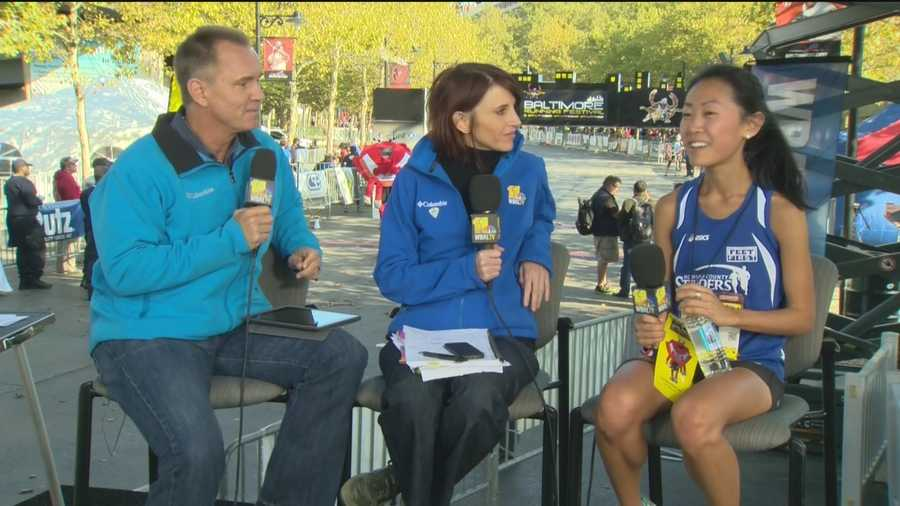 Baltimore Marathon women's winner Alex Wang, 23, of Ellicott City, talks about how surprising her big win was and how she had to make a little pit-stop on the way to the finish line.