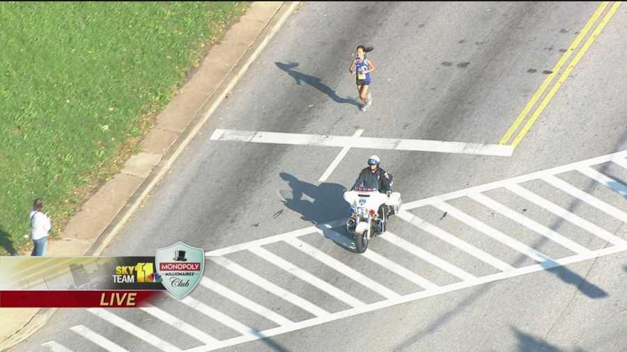 Alex Wang, 23, of Ellicott City, has a commanding lead in the women's marathon race.
