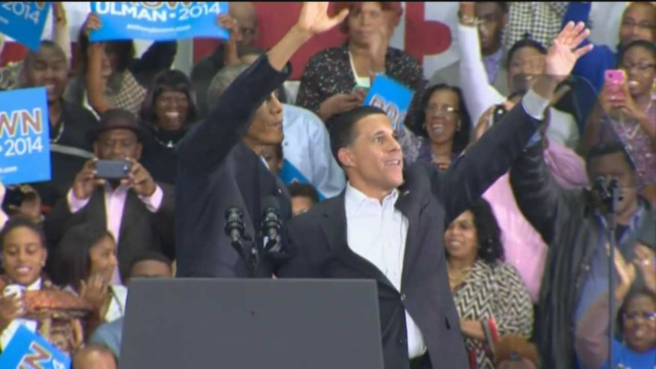 President Barack Obama stumps for Democratic gubernatorial candidate Anthony Brown in Upper Marlboro.