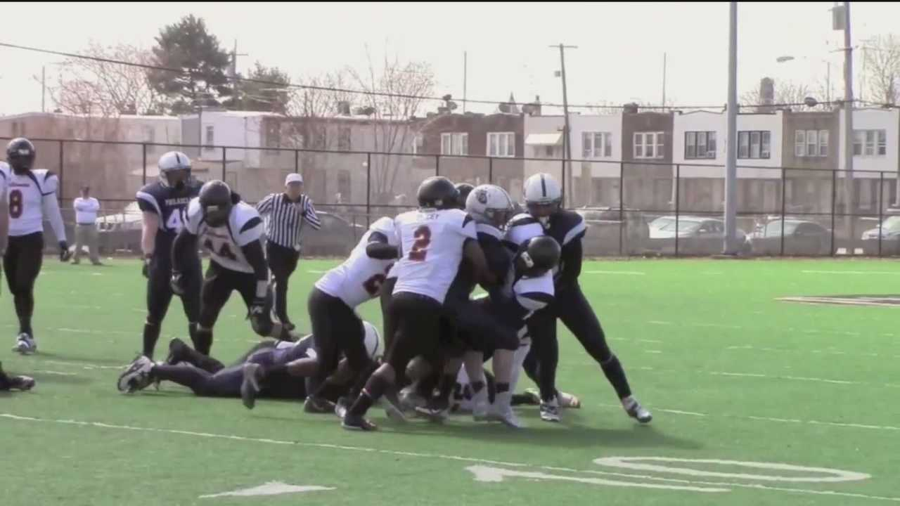 Players from the Warhawks, a semipro team that plays in the National Public Safety Football League, help raise funds for the O.J. Brigance Brigade.