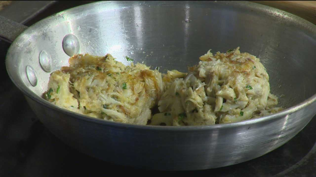 Phillips Seafood demonstrates its recipe for its popular signature crab cakes.