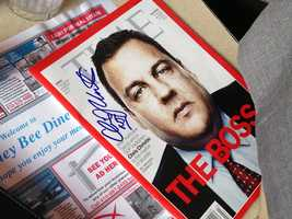 A signed autograph by Christie at the event on an issue of Time magazine in which he's featured.