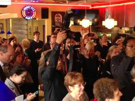 A media crush at the event at the Honey Bee Diner.