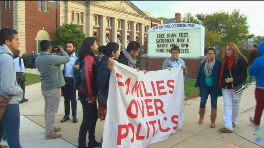 The protestors later told 11 News that their specific complaint is about a waiver they said the Obama administration is not giving to the parents of DREAM Act children, who worry their parents will get deported.