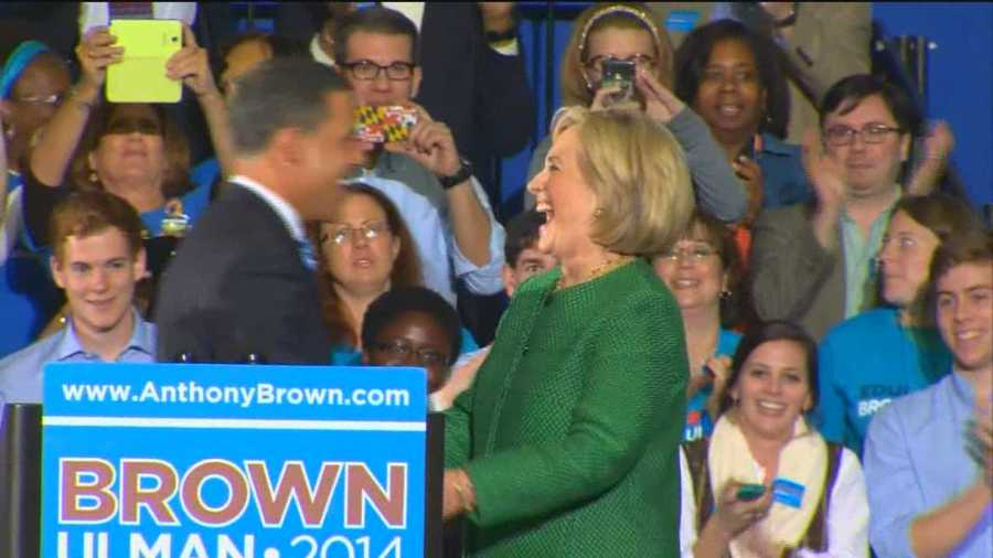 Hillary Clinton has a big smile as she is introduced by Lt. Gov. Anthony Brown.