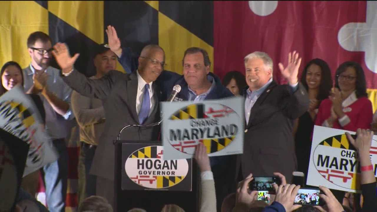 New Jersey Gov. Chris Christie fired up a large crowd of Larry Hogan supporters Sunday at a rally for the GOP gubernatorial candidate at the Patapsco Arena in south Baltimore.