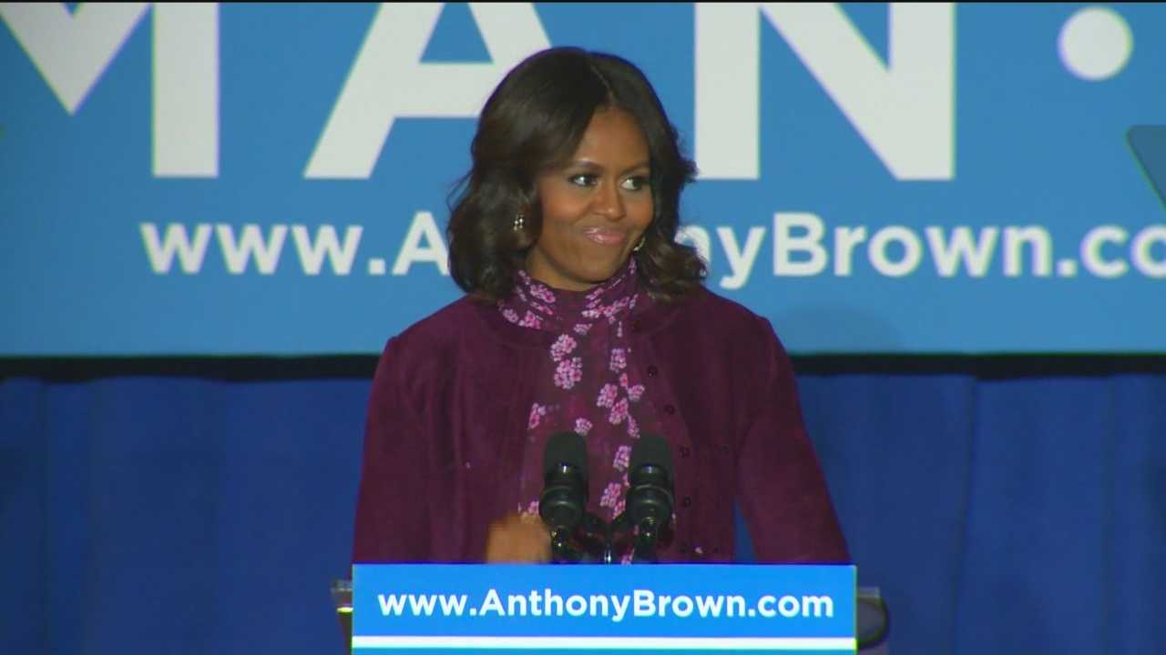 First lady Michelle Obama comes to Baltimore to campaign for Democrat Anthony Brown as Republican Larry Hogan makes the final push.