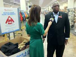 11 News reporter Megan Pringle interviews Burlington Coat Factory spokesman Chris Lewis.