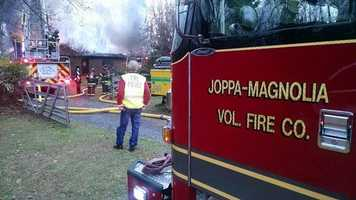 The Maryland Fire Marshal's Office is investigating the cause of a two-alarm house fire in Harford County on Sunday afternoon.
