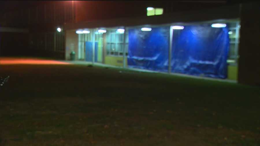 Sparrows Point High School is covered up after the crash was cleared.