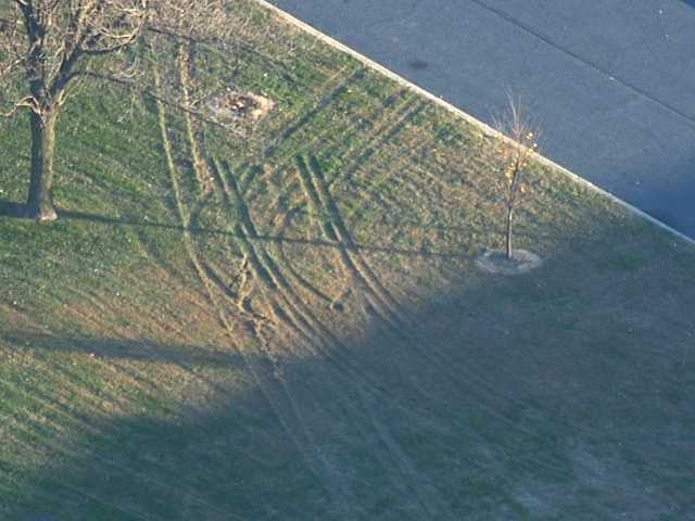 Skid marks from the crash can be seen on the school's lawn.