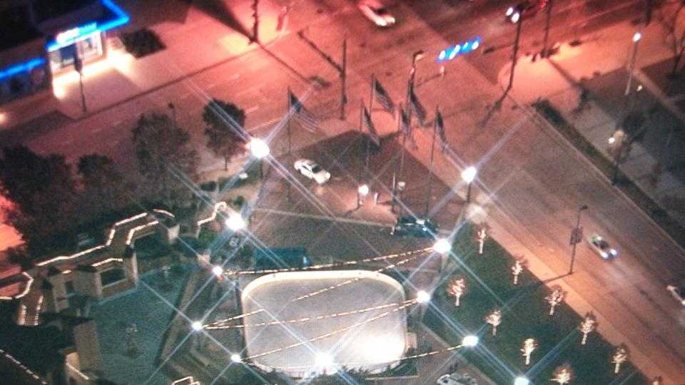A view of the Inner Harbor ice rink from Sky Team 11.