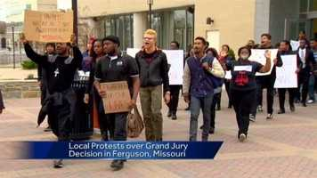 Students at Morgan State University protest.